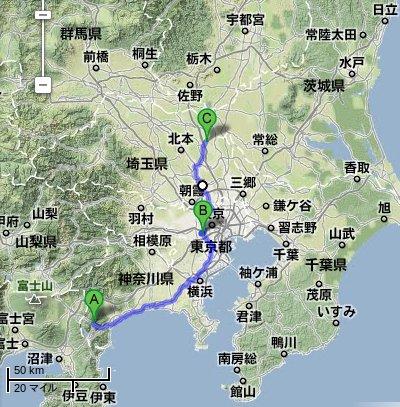 google map画像(小田原市~久喜市)